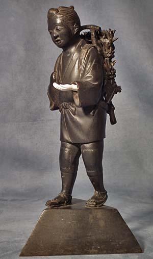 Antique Japanese Bronze Sculpture Boy Figure Signed in Japanese