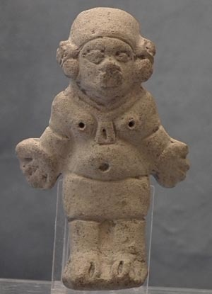 Antique Pre-Columbian Jama - Coaque Ceramic Female Figure 300 BC- 400 AD