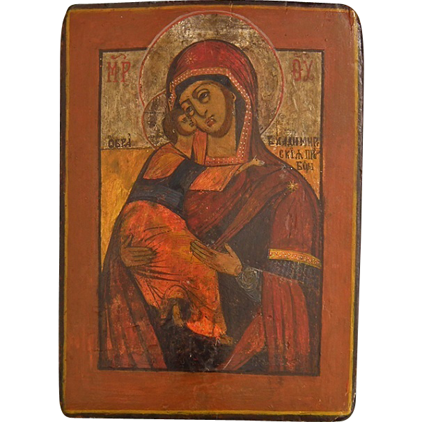 Authentic Antique 18th century Russian Orthodox Icon Mother of God Vladimirskaya