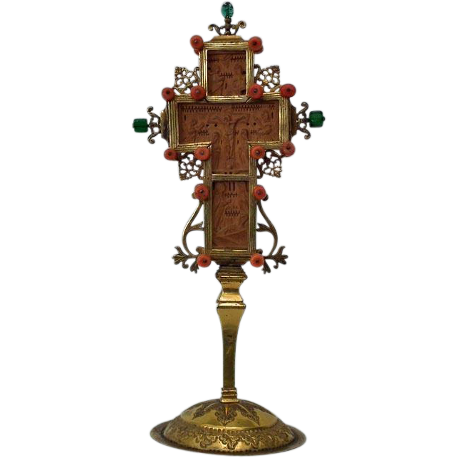Antique 17th 18th c Silver Gilt Greek Mount Athos Boxwood Blessing Cross