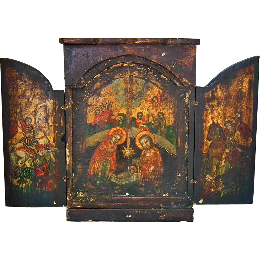 Antique 18th c Greek Post-Byzantine Orthodox Triptych Nativity Icon