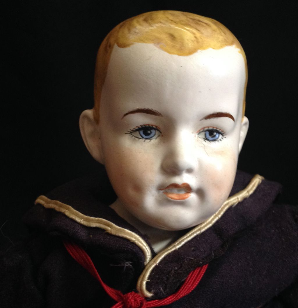 "Super neat Vintage  14"" all original Painted Bisque sailor boy!"