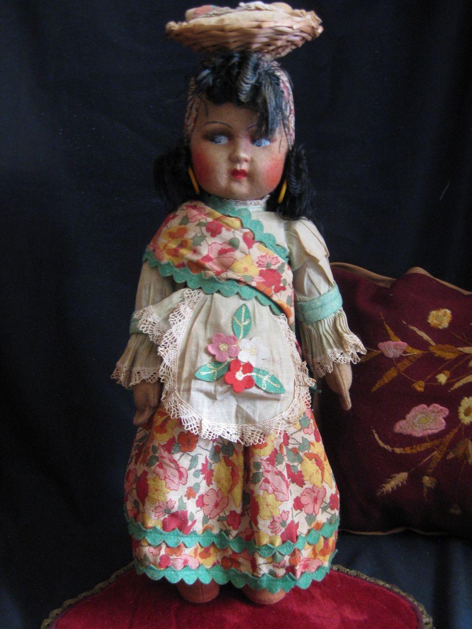 Adorable 19'  Vintage felt doll from Brazil