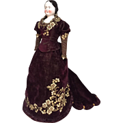 Early Blush tinted China lady in outrageous Victorian gown