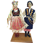 Wonderful Vintage doll couple in Krakow festival  costumes