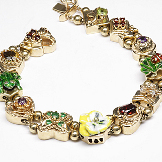 Yellow Gold Slide Bracelet with Enamel and Colored Stones, C. 1980