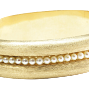 14-Karat Yellow Gold Hinged Bangle Bracelet with Cultured Pearls, c. 1990