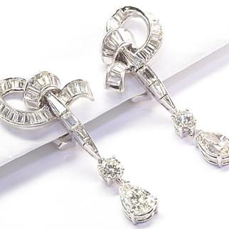 Diamond Drop Earrings, c. 1950s