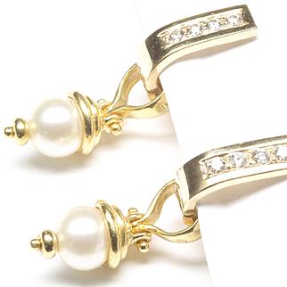 14-Karat Huggy Hoop Diamond Earrings with 18-Karat Cultured Pearl Dangles