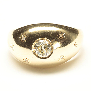 Victorian Dome Ring with Old European Cut Diamond