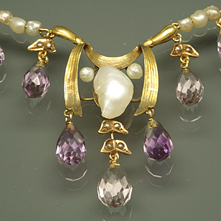 Art Nouveau Necklace with Briolette Amethysts and Natural Freshwater Pearls by Crossman & Co.