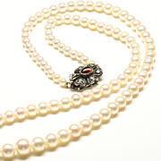 "Very Fine Graduated Cultured Pearl Necklace, 17 1/2"", c. 1945"