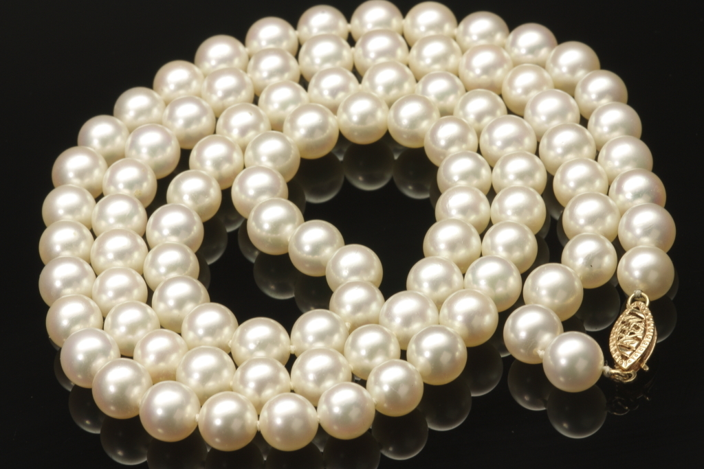 Matinee Length Cultured Pearl Necklace C 1980s From