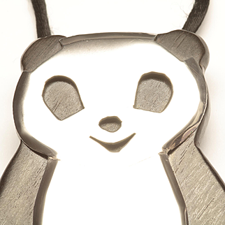 1970s Panda Bear Pendant in Sterling Silver and Wood, by Celia Sebiri