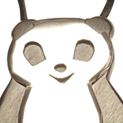 1970s Panda Bear Pendant in Sterling Silver and Wood, by Celia Sebiri