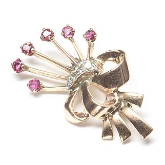 1940s Retro 14-Karat Rose Gold Flower Pin with Rubies and Diamonds