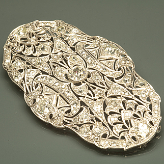 Late Edwardian Large Diamond Brooch/Pendant with French Import Marks