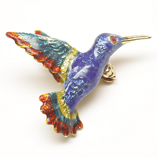 Enamled Hummingbird Pin in 14-Karat Yellow Gold