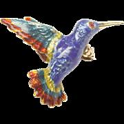 Enamled Hummingbird Pin in 14-Karat Yellow Gold