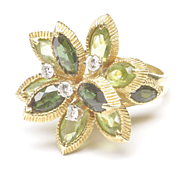Peridot, Tourmaline and Diamond Ring, c. 1960s