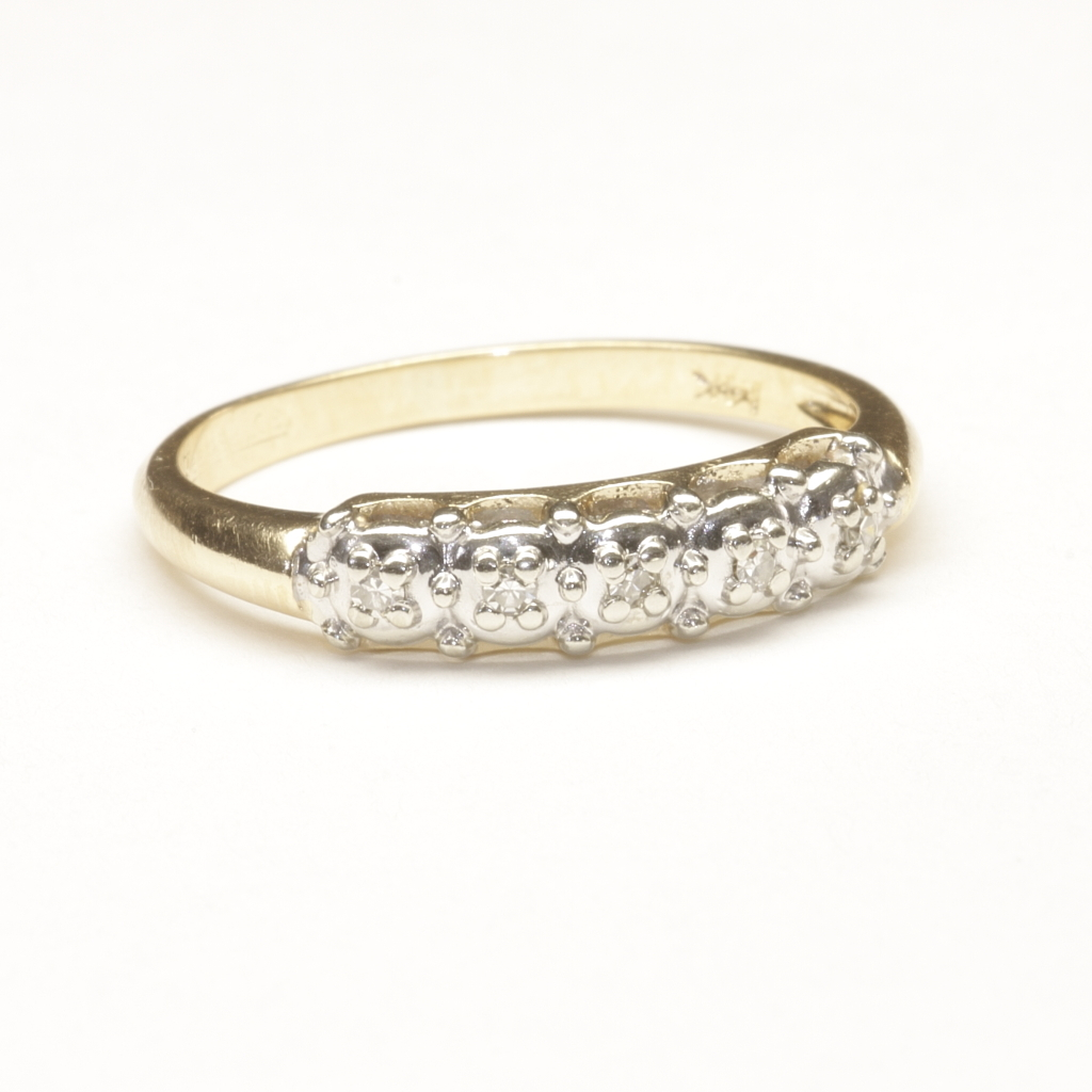 wedding ring with five small diamonds c 1965 from. Black Bedroom Furniture Sets. Home Design Ideas