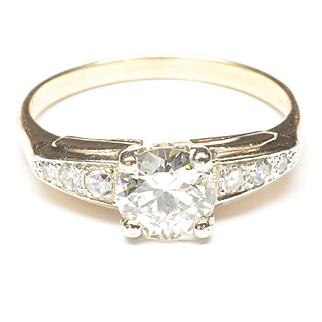 Diamond Engagement Ring in 14-Karat Yellow/White Gold, c. 1950