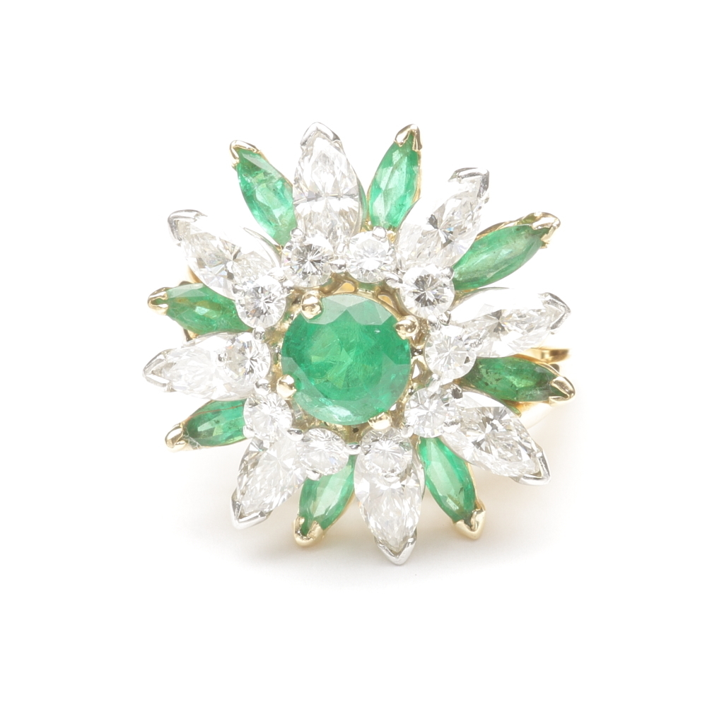 Emerald and Diamond Dinner Ring by Oscar Heyman, c. 1980
