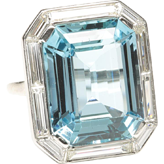 Prominent Aquamarine and Diamond Ring, Art Deco Period