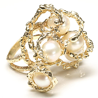 Large Free-Form Ring with Cultured Pearls, c. 1970