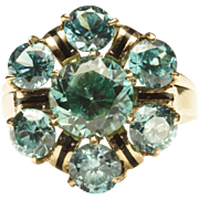 Daring Retro Ring with Blue Zircons
