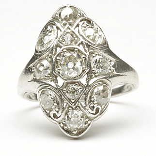 Early Art Deco Diamond Ring with Navette Outline