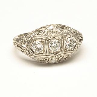 19-Karat White Gold Diamond Wedding Ring, c. 1920s