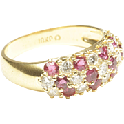 Diamond and Ruby Dome Ring, C. 1980
