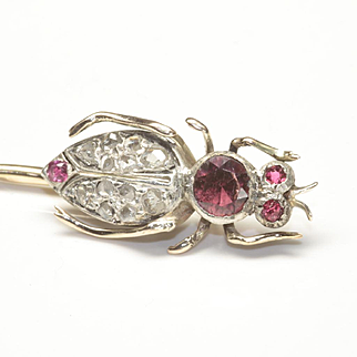 Antique Victorian Insect Stick Pin with Diamonds and Rubies, Depicting an Ant