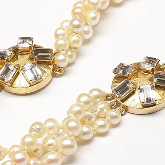 Three-Strand Cultured Pearl Necklace and Matching Bracelet with Morganite Clasps