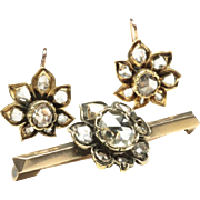 Rose-Cut Diamond Earrings and Matching Brooch, by A.B. Griswold, New Orleans, c. 1880