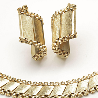 Midcentury Matching Gold Necklace and Earrings, by F&F Felger