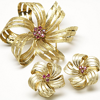 Brooch and Earring Set with Rubies, C. 1950