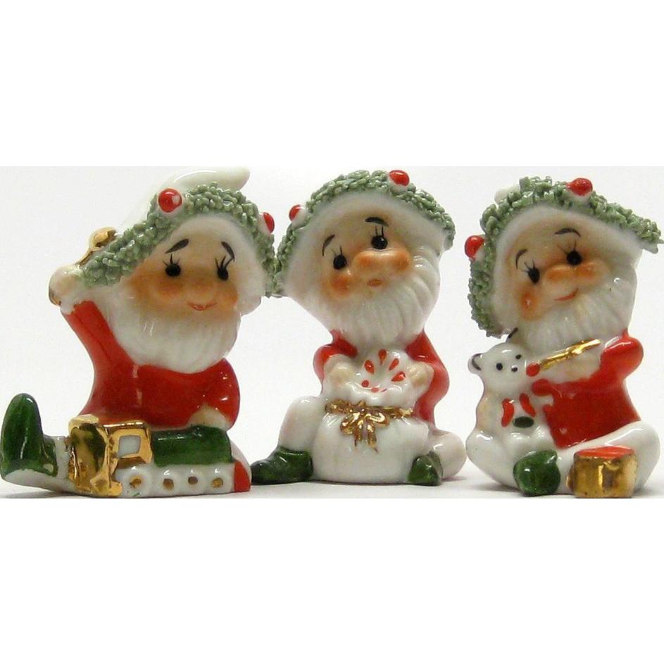 christmas elf set vintage trio small figurines sold on ruby lane