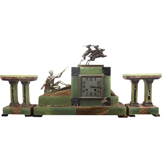 """Art Deco Bronze & Marble Clock Garniture """"The Hunt"""" by Voltas"""