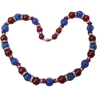 Art Deco French 1930's Poured Glass Blue Melon Glass & Red Bead Necklace