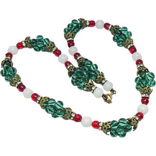 French 1940's green Poured Glass cluster bead Necklace