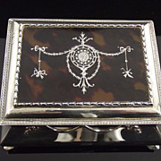 Silver and Tortoise shell Jewelry box 5.5/8 inch x 4.3/8 inch