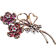 """Large Pennino Sterling """"Jewels of Fantasy"""" flower spray Pin."""