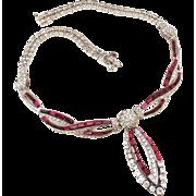 Marcel Boucher Ruby rhinestone Pom Pom Necklace