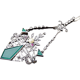 Art Deco Austro Hungarian Sterling & Chrysoprase Pendant Necklace