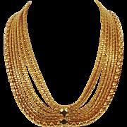 Bergere multi gold tone chain bib necklace