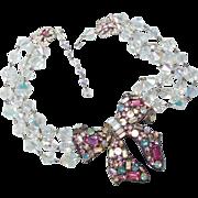 Vintage Thelma Deutsch aurora borealis bow necklace