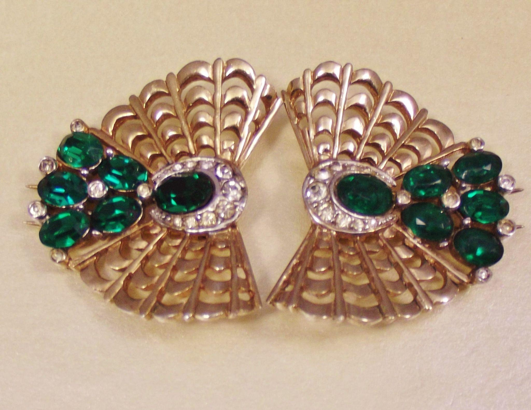 marcel boucher emerald rhinestone fur pins from