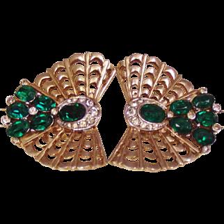 Marcel Boucher Emerald Rhinestone Fur Pins